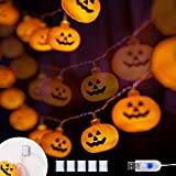 KPCB Halloween Lichterkette, Halloween Kürbis Deko Lichterkette, Kürbis Lichterkette für Halloween, 5.4m 40 LEDs Kürbis Lichter Batteriebetrieben für Halloween Party Hause Garten