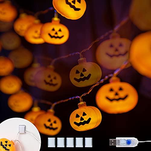 KPCB Tech Decoraciones de Halloween Luces LED de calabaza Cadena 5,4M 40 LED Operado por USB e navidad