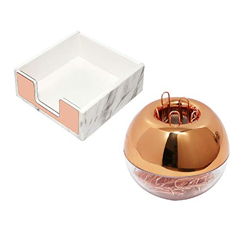 Marble Rose Gold Acrylic Sticky Memo Pad Holder with Rose Gold Paper Clips Holder 100pcs 28mm Rose Gold Paper Clips Rose Gold Modern Desk Organizer Set for School Office and Personal Use