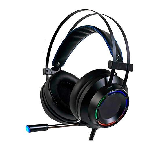 EWQK Auriculares de Juegos Profesionales, con Auriculares de Juego de Bajos Profundos, con micrófono, Adecuado para Jugadores de computadora 7.1 USB Canal Sonido Envolvente para PC, Consolas y