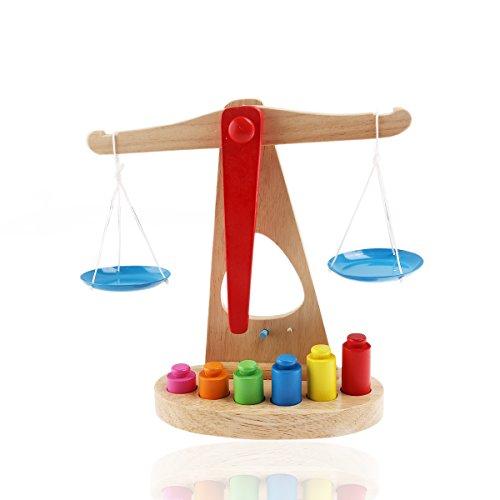 NUOLUX - Juguete educativo infantil de balanza de madera con 6 pesos multicolor