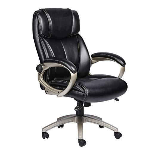 ComHoma High Back Office Chair Big and Tall Heavy Duty 400lbs Executive Chair (193-Black)