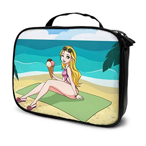Beach Girl Summer Umbrella Bronzer Voyage Beaux Sacs pour Filles Cosmétique Sac Organisateur Mini Maquillage Sac Multifonction Imprimé Poche pour Les Femmes