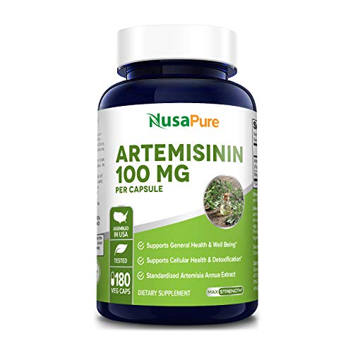 Artemisinin 100 mg 180 Veggie Capsules with 5 mg BioPerine for Enhanced Absorption, Sweet Wormwood Extract, Vegan and Non-GMO - 6 Month Supply