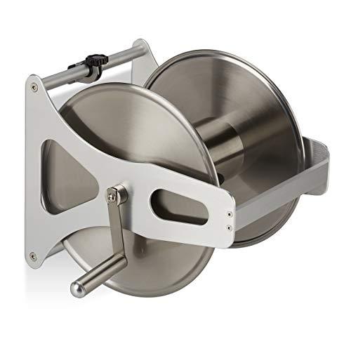Relaxdays Schlauchtrommel Metall, Schlauchaufroller leer, Edelstahl & Aluminium, Boden & Wand, 30,5x45x36,5 cm, Silber
