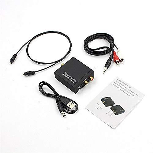 Ashley GAO Convertidor de Audio Toslink óptico a analógico L/R RCA coaxial Digital de 3,5 mm Adaptar + Cable de Fibra óptica