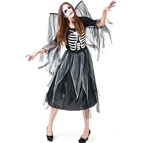 BERTHACC Halloween Gotisch Kostuum, Volwassen Horror Vrouwelijke Geest Bruid Donkere Vampier Kostuum Halloween Fancy Jurk, Rib Gedrukte Jurk, Donkere Engel Jurk Mesh Jurk + Mesh Vleugels, Halloween Carnaval Kostuum