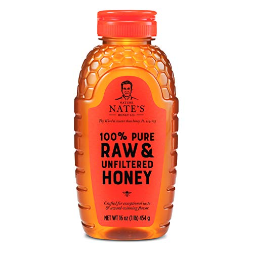 Nature Nate#039s 100% Pure Raw amp Unfiltered Honey 16 oz Squeeze Bottle Allnatural Sweetener No Additives