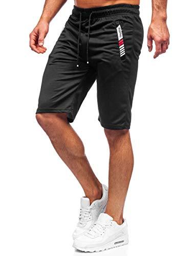 BOLF Herren Kurze Sporthose Shorts Bermudas Trainingshose Fußballhose Fitnesshose Short Hose Sweathose Stretch Freizeithose Street Style JX391 Schwarz L [7G7]
