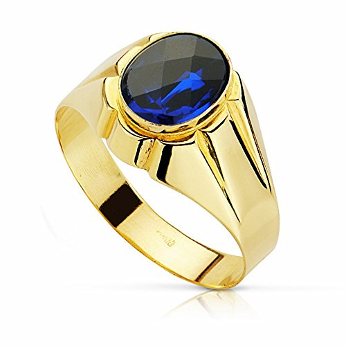 Sello oro 18k piedra espinela azul 10mm. [AA2301]
