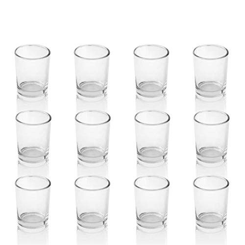 PMLAND Clear Glass Votive Candle Tealight Holders - Bulk Pack of 12