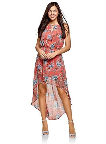 oodji Ultra Damen Kleid aus Leichtem Stoff mit Asymmetrischem Saum, Rosa, DE 36 / EU 38 / S
