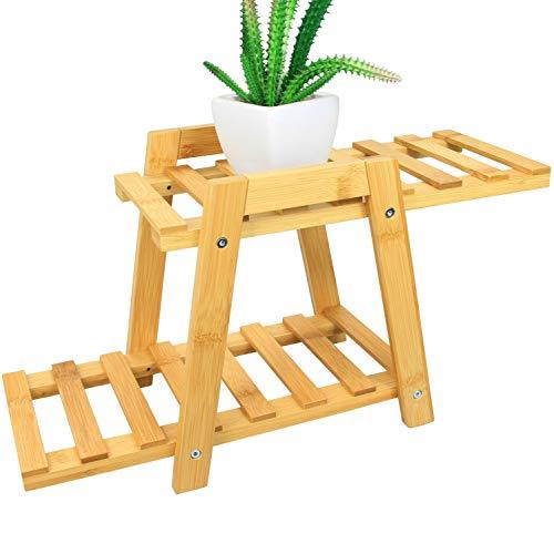 Woodquail - Supporto per Piante a 2 Ripiani, Realizzato in Bambù Naturale