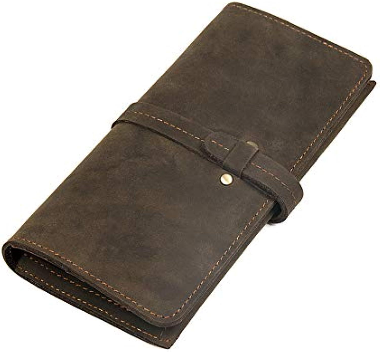 Stylish Durable Men's Wallet Leather Long Wallet Crazy Horse Leather Leather Leather Retro Leather Wallet Coin Pocket Purse (color   Bronze, Size   S) abc85a