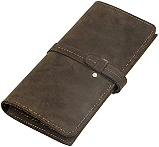 Men's Bag Men's Wallet Long Wallet Crazy Horse Retro Fashion Wallet (Color : Bronze, Size : S)