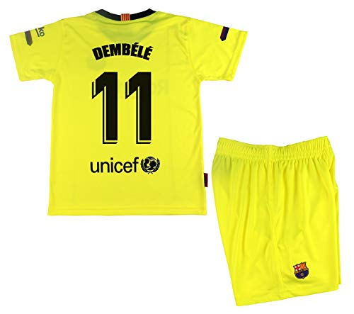 FC kindershirt en broek Dembele Barcelona officieel gelicentieerd product seizoen 2018-19 neongeel