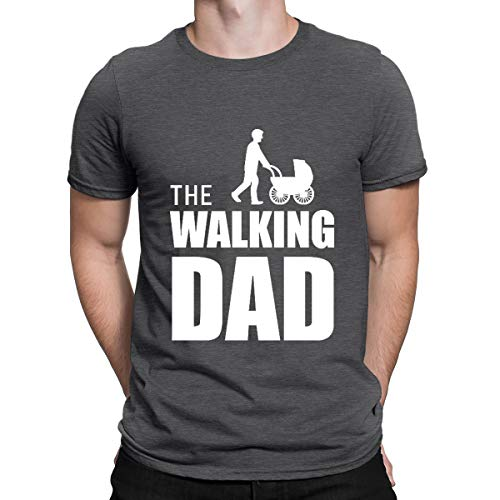 The Walking Dad Baby Carriage T-Shirt Fathers Day Gift Novelty T-Shirt Retro Black Top Tee for Men