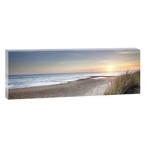 Bild auf Leinwand mit Landschaftsmotiv Sonnenuntergang an der Nordsee | 150 x 50 cm, Farbig, Wandbild, Leinwandbild mit Kunstdruck, Nordseebild mit Strandmotiv auf Holzrahmen gespannt, 50x150 cm