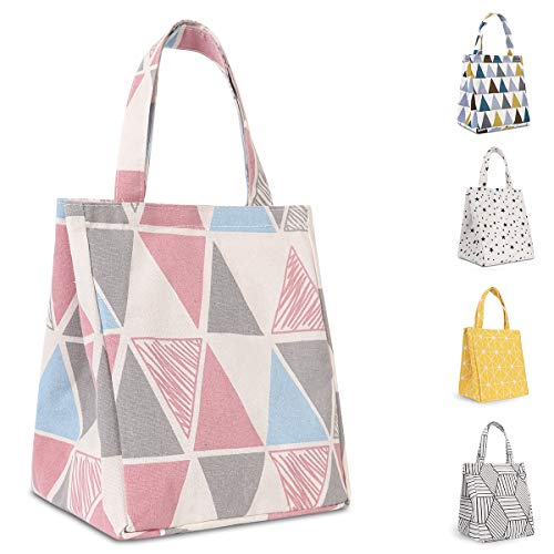 Buringer Insulated Lunch Bag with Inner Pocket Printed Canvas Fabric Reusable Cooler Tote Box for Ladies Woman Man School Work Picnic (Upgraded Pink Triangle Pattern)