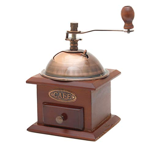 GOODS+GADGETS Bezaubernde Retro Kaffeemühle im Antik Design aus Holz & Messing gefertigt Espressomühle für Kaffee Bohnen