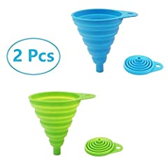 ★ SAFE & FOOD GRADE: 100% food grade silicone. Soft and flexible silicone funnel, BPA Free and FDA Approved. Heat resistant -40°C to 250°C, No need to worry that the funnel may damage the health of your families. ★ DESIGN : Collapsible funnel has a f...
