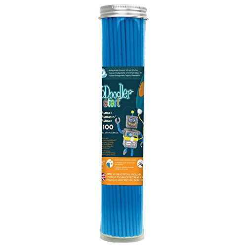 3Doodler Start 3D Printing Filament Refill Tube (X100 Strands, Over 830'. of Extruded Plastic!) - Ocean Blue, Compatible with Start 3D Pen for Kids