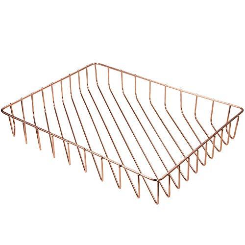 Kuinayouyi Bandeja de escritorio de oro rosa, terminadora de bandeja de archivo de letra de alambre