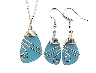 Fait à la main à Hawaii, fil enroulé turquoise collier bleu verre mer baie + boucles d'oreilles de bijoux, « Décembre Birthstone », (Hawaï cadeau emballé, personnalisable message cadeau)