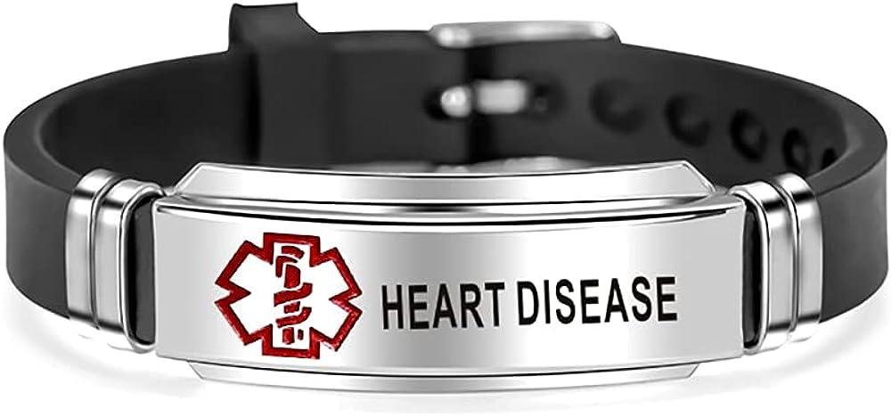 MZC Jewelry Medical Alert ID Bracelet Stainless Steel Silicone Engraved Adjustable Sport Wristband Bracelets for Men Women
