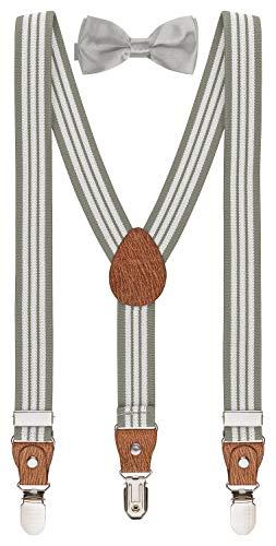 BomGuard kinder-hosenträger pu-br gestreift grau mit silber schleife 1-5 Jahre 12 jungs