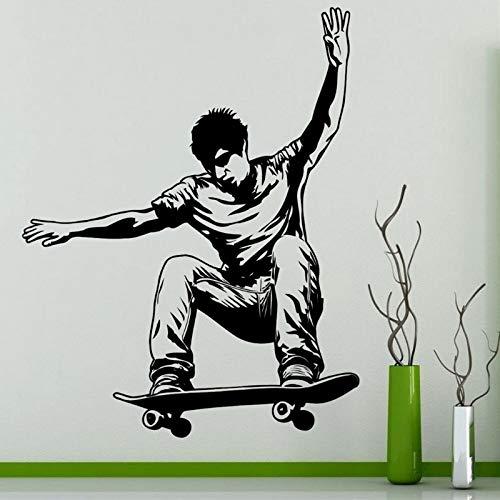 Tianpengyuanshuai Skateboard Wandaufkleber Sport Vinyl Aufkleber Home Dekoration Art Deco dekorative Wandbilder Skateboard Auto Glas Aufkleber58X73cm