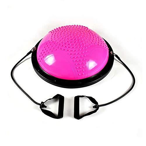 KUYUC Media Bola de Equilibrio, Balance Trainer con Correas de Resistencia & Inflador para Fitness de Yoga, Ejercicio de Equilibrio (Color : Pink, Size : 58cm(23inch))