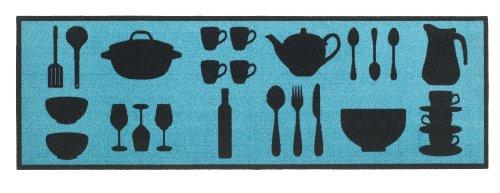 Küchenläufer / Küchenmatte / Dekoläufer für Küche und Bar / Teppich Läufer / waschbare Küchenläufer / Küchendeko Modell COOK & WASH Gerichte Besteck Kochtopf Farbe : blau / Größe ca. 50 x 150 cm / Maschinen waschbar auf 30 grad