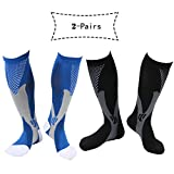 Atous Sock Compression for Men Women Fit for Athletic Sport Running Cycling Football Pack of 2 Pairs (Black+Blue, S/M)
