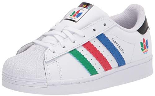 adidas Originals Kids' Superstar Sneaker, White/Green/Black 7 M US
