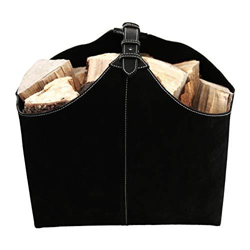 ØRSKOV - houten mand (LOG HOLDER) van suède of leer design by Jørgen Møller zwart/zwart