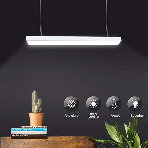Viugreum LED Pendelleuchte, Büroleuchte Led 60W 6000K Kaltweiß,led pendelleuchte Silver,Büroleuchte Decke Led Für Büro, Wohnzimmer, Esstisch, Garage, etc