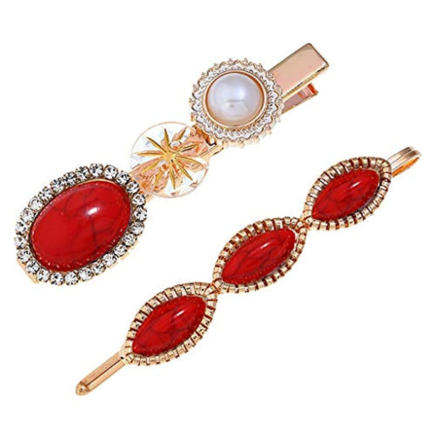Junshion Women's Fashion Diamond Hair Clip Trendy Sweet Romantic Pearl Button Sen Retro Multicolor Hairpin Girl Jewelry