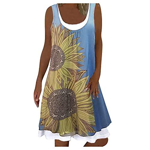 L9WEI Damska sukienka plażowa, imitacja dwuczęściowa, z dekoltem w kształcie litery U, krótka sukienka bez rękawów, elegancka, letnia sukienka na co dzień, luźna sukienka niebieski niebieski S