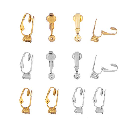 Zpsolution 12 Pieces Clip on Earrings Converter Components with Post for Non-Pierced Ears, Silver and Gold