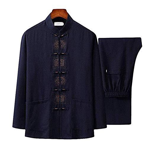 Tai Chi Kleidung Damen,Herren Mann Tai Chi Kleidung Uniform Anzug Qi Gong Kampfkunst Wing Chun Shaolin Kung Fu Hemd Trainingskleidung Bekleidung Bekleidung,Black-190