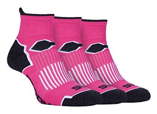 Storm Bloc - 3er Pack Damen Bunt Gepolstert Kurz Laufsocken Sportsocken in Pink und Schwarz (37-42, SBLS016PIN)