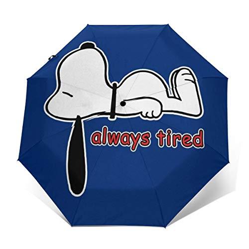 Snoopy Always Tired Winddichter, kompakter Automatischer Faltschirm, automatischer Faltbarer Reise-Sonnenschirm