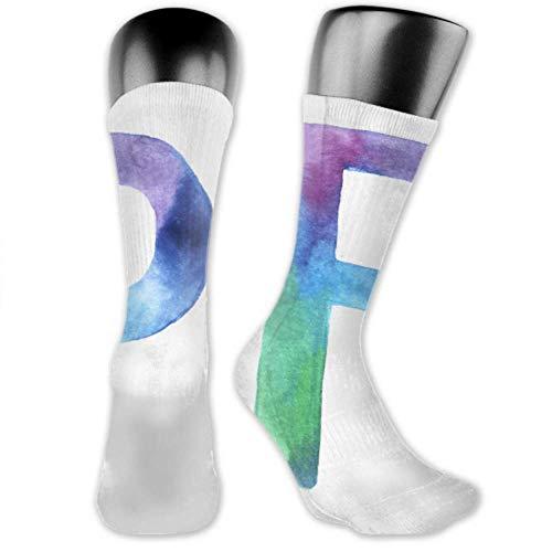JONINOT 2 paquetes de calcetines deportivos ligeros y cómodos 40CM novedad divertidos pintados a mano lindo alfabeto letra medias largas