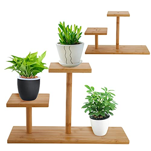 Cedilis 2 Pack Bamboo Mini Tabletop Plant Stand, Succulent Plant Stand, 2 Tier Windowsill Plant Stand, Desktop Plant Holder for Home Office Decorative