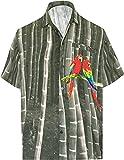 LA LEELA los Hombres con Botones Manga Corta Bolsillo Delantero Loro de impresión Fiesta Informal Ciervo Verano Corte Regular la Camisa Hawaiana Gris_AA234 3XL