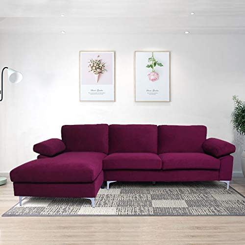 Sectional Couch for Living Room Sectional Sofa with Velvet Fabric and Hard Wood Frame L-Shape Sectional Sofa Couch Purple Sofa