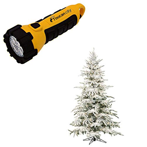 Toucan City LED Flashlight and Fraser Hill Farm 9 ft. Pre-lit LED Flocked Mountain Pine Artificial Christmas Tree with 800 Clear String Lights FFMP090-5SN