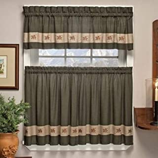 Embroidered Mini-Plaid Pair of Tiers - Perfect Plaid Tier Curtains for Kitchen, Bathroom, and Bedroom - Small Check Plaid with Acorn Embroidery (60