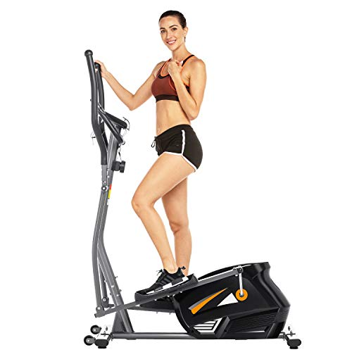 FUNMILY Eliptical Exercise Machine,Elliptical Cross Trainer for Home Use,Heavy-DutyGym Equipment for Indoor Workout & Fitness with 10-Level Resistance&Max User Weight:390lbs. (Silver)